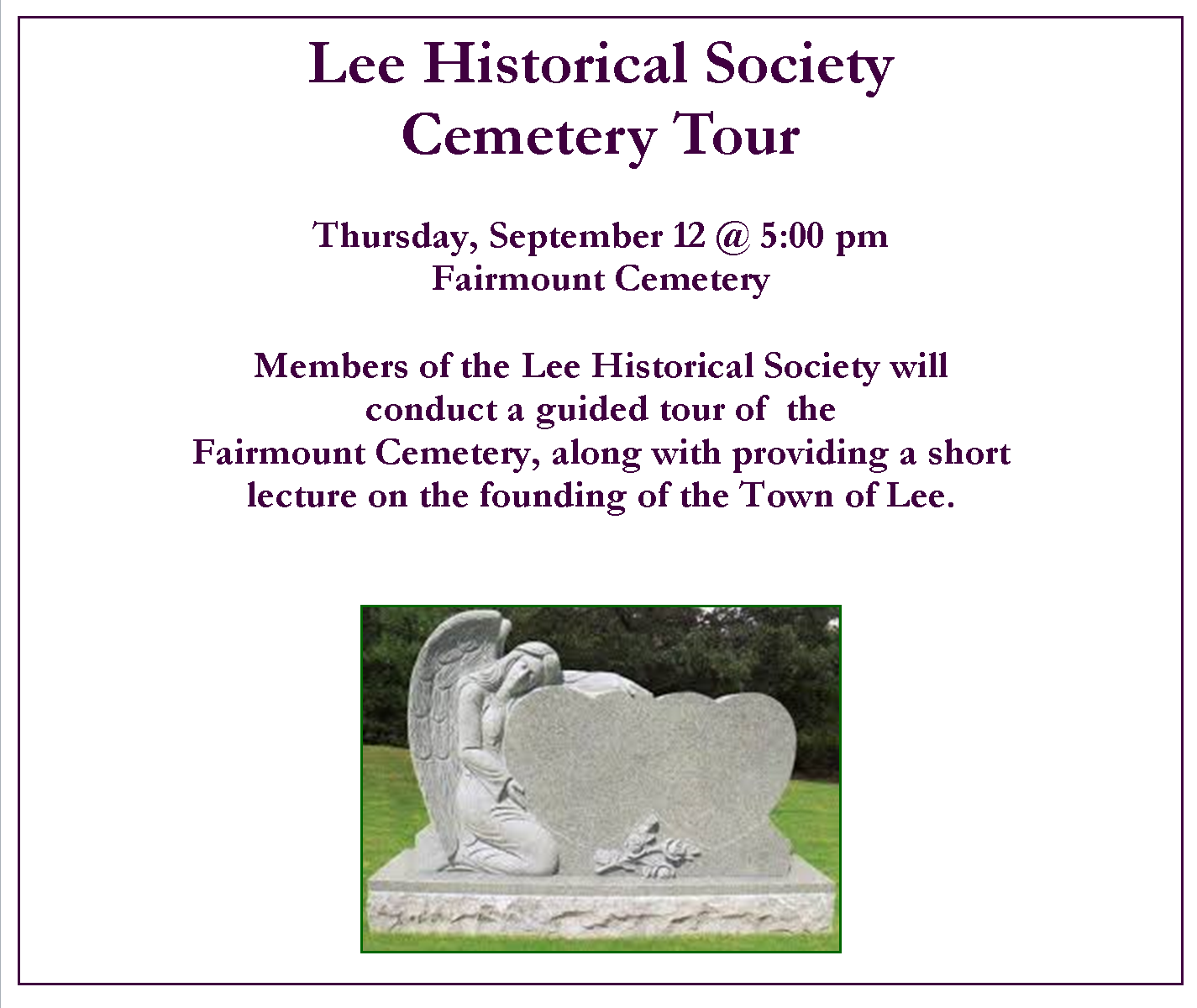 Lee Historial Society Fairmount Cemetery Tour