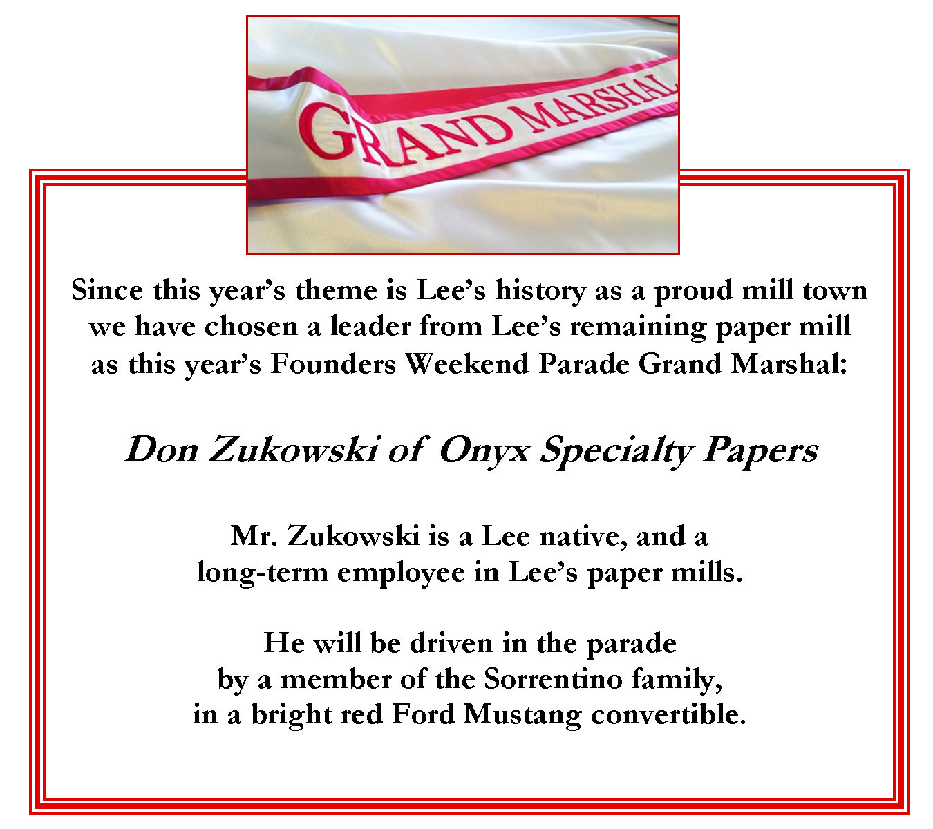 Parade Grand Marshal Onyx Papers Don Zukowski