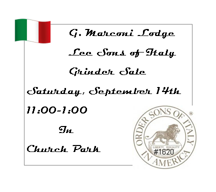 Sons of Italy Grinder Sale September 14
